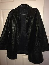 ZARA WOMENS XL BLACK WET LOOK LONG SLEEVED BUTTON FASTEN COAT (NEW WITHOUT TAGS)