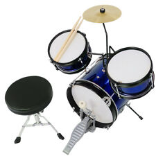 3pcs Junior Kid Child Drum Set Maple Sticks Stool Seat Boy Girl Talent Gift Blue