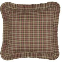 CROSSWOODS Fabric Euro Sham Tan/Red Plaid Rustic Primitive Country Farmhouse VHC