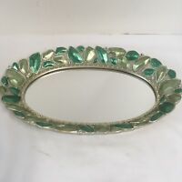 "Vanity Mirror Green Stone Look With Silver Color Trim 12.5"" L x 8""W"