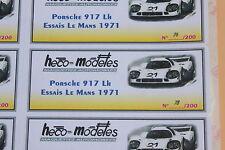 PW 1 ex étiquette autocollant Heco modeles Porsche 917 N°21 Essais Le Mans 1969