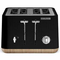 Morphy Richards 240007 Scandi Black Aspect 4 Slice Toaster w/ Wooden Trim/Tray