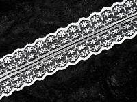 4 Meter Spitzenband Vintage Tüllspitze Rachelspitze Borte Bordüre 47mm Weiß