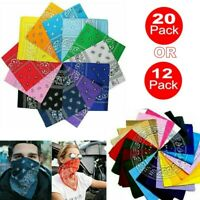 12/20 Pack Paisley Print Bandana 100% cotton Head Warp Scarf Face Mask Men Women