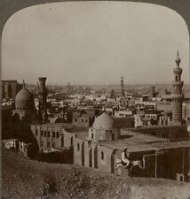 Egypt. Cairo Looking Across City To Pyramids That Furnished Stone - Stereoview