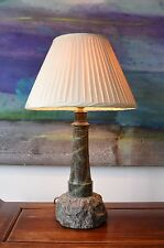 Early 20th C Cornish Marble Serpentine Lighthouse Light Hall Table Side Lamp