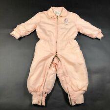 Vintage 60s 70s Girls Kids Toddlers One Piece baby Gro-Suit Nylon Pink Snow Suit