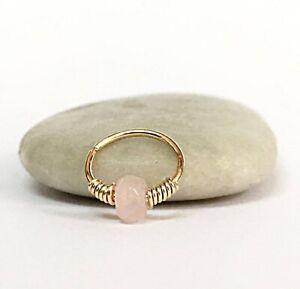 Nose Ring Septum Cartilage Earring Helix Hoop Daith Rose Quartz Piercing 20g 22g