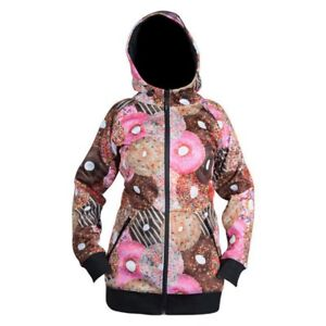 New NEFF Snowboard Donuts Women's Full Zip Hoodie Jacket Size Large