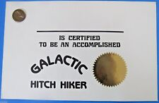 Galactic Hitch Hiker certificate Douglas Adams 80s vtg Hitchhiker's Guide Galaxy