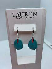 Lauren Ralph Lauren Silver Tone Blue Stone Drop Earrings A50