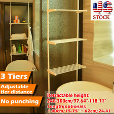3 Tiers Over Toilet Storage Rack Retractable Height Shower Tension Pole Bathroom