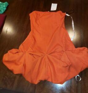 Womens Missguided Orange Ruffle Hem Strapless Mini Dress US6