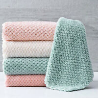 1/2Pcs Soft Strong Water Absorbent Cleaning Dish Cloth Anti-Oil Car Home Towel
