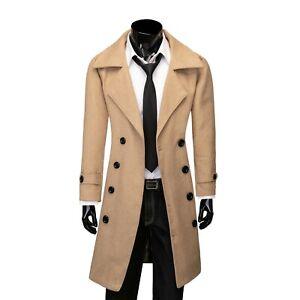 Mens Smart Double Breasted Duffle Pea Coat Long Warm S M L XL XXL Black Grey
