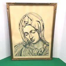 Vintage Framed under glass Print Pencil Sketch Madonna Virgin Mary Devito 16x21