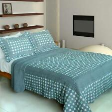 3 Pc Take this Waltz turquoise buttons 100% Cotton Vermicelli Queen Quilt Shams