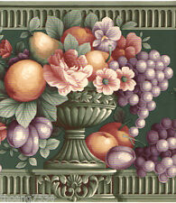 Fruit Urn Bowl Rose Flower Floral Molding Purple Grape GREEN Wall paper Border