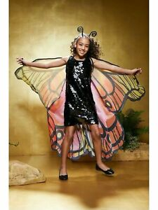 NIP ~Chasing Fireflies Black Sequin Butterfly Costume~ Girls Sz 6 & 8 Halloween