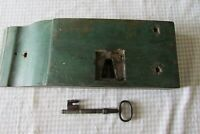 Heavy Antique French Wooden Double Lock and Key 1800's