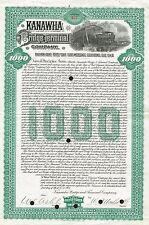 USA KANAWHA BRIDGE & TERMINAL COMPANY GOLD BOND stock certificate 1908