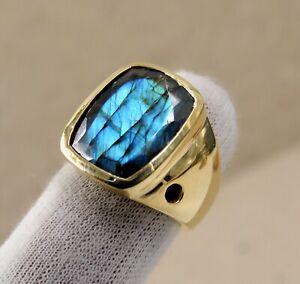 Solid 925 Sterling Silver Labradorite Gemstone Partywear Boys Mens Ring Jewelry