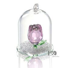 Crystal Pink Rose Figurine Hanging Deco Pendant Xmas Wedding Gift Ornaments