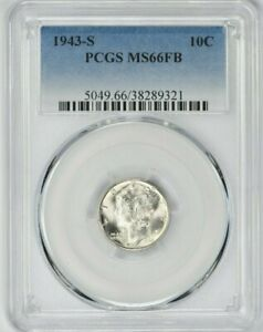 1943-S 10C Mercury Silver Dime PCGS MS66FB (9321) 99c NO RESERVE  Witter Coin