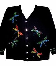 1X 20/22 CHRISTMAS DRAGONFLY ORNAMENT DESIGN WOMENS SWEATER CARDIGAN OPTIONS