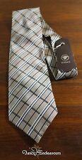 Gianni Versace Italy Diagonal Plaid  Beige White Navy Stripe Silk Necktie Tie
