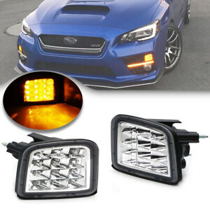 Clear Lens Amber Led Turn Signal Lamp for 15-18 Subaru WRX STi Front Corner Lamp