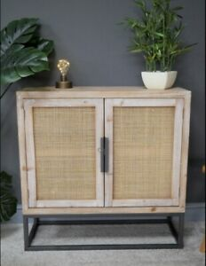 White Washed Wood And Rattan Cabinet