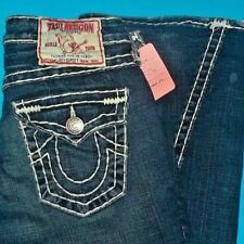 27 x 33 Pre-Owned TRUE RELIGION $319 JOEY SUPER T Flare WHITE STITCH JEANS