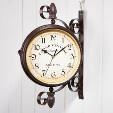 New Antique Wall Clock Outdoor Station Garden Hallway Double Sided Mount Clock
