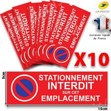 AUTOCOLLANT STATIONNEMENT INTERDIT - 15cm x5 Lot de 10