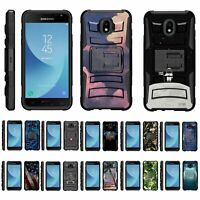 For Samsung Galaxy J3 (2018) J337 Rugged Hybrid Holster Belt Clip Case Kickstand