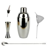 NEW Heavyweight Cobbler Cocktail Set - Shaker Jigger Strainer Barspoon Spoon