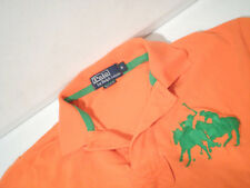 Ralph Lauren Mens Rugby Shirt Sz Small Orange Pique Top w/ Embroidered Pony Logo