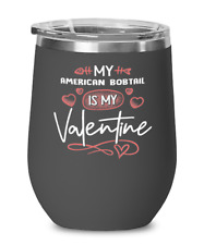 American Bobtail Cat Lovers Wine Glass Insulated 12oz Black Tumbler Mug Cute Gif