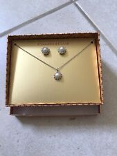 Charter Club Silver And Pearl Pendant Necklace & Stud Earring NIB