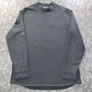 Vintage Men's Nike Mock Neck Logo Long Sleeve Tee Shirt Gray Size X Large Rare