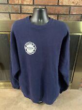 Vintage Madison Wisconsin Crewneck Fire Department Sweatshirt Mens Size XXL Blue
