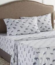 Queen Flannel Sheet Set 4 Piece Gray Wilderness 100% Cotton