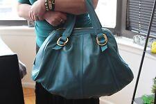 Bvlgari Original  Leather Blue Large Bag with gold Bvlgari logos 14 inch