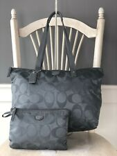 COACH Getaway GRAY Signature Nylon Packable Weekender Tote Bag 77321