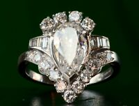 Antique 2.9Ct Pear Diamond Art Deco Vintage Engagement Ring 14k White Gold Over