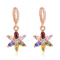 Star Style Multi Color Morganite Garnet  Rose Gold Plated Dangle Earrings
