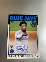 Santiago Espinal 2021 TOPPS SERIES 1 1986 ON CARD ROOKIE AUTO #86A-SE BLUE JAYS