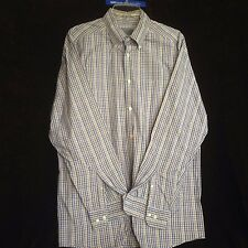 Talbots Men's Large Blue Black and Brown Plaid Long Sleeve Dress Shirt