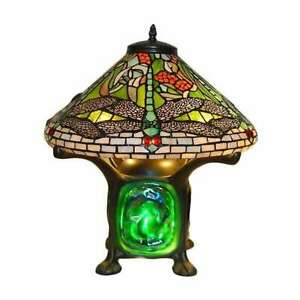 Tiffany Style Green Dragonfly Accent Table Lamp Turquois Red Stained Glass Shade